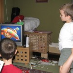 The Smith kids playing Nintendo