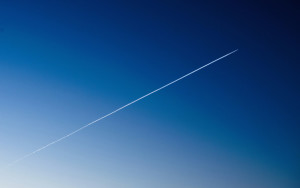 Airplane-Trace-on-Blue-Sky-Gradient-Wallpaper