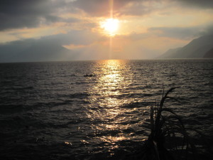Beautiful sunset over Lake A'titlan